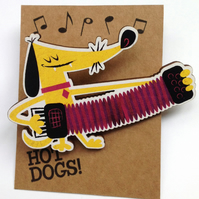 Accordian Dog brooch