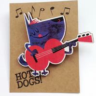 Guitar dog brooch