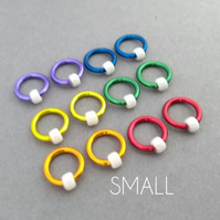 Circle-Os, rainbow non snag ring stitch markers for knitting, small, up to 4.5mm
