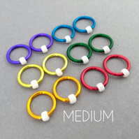 Circle-Os, rainbow non snag ring stitch markers knitting, medium, up to 6.5mm