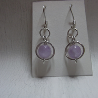 Lavender amethyst and silver circles earrings