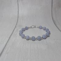 Blue lace agate and silver beads bracelet