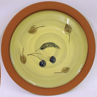 Plate with cherry and leaf design