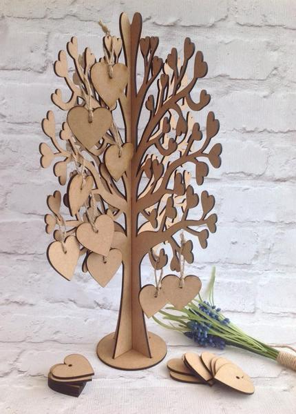 Wooden wedding wishing tree guest book alternative with hearts