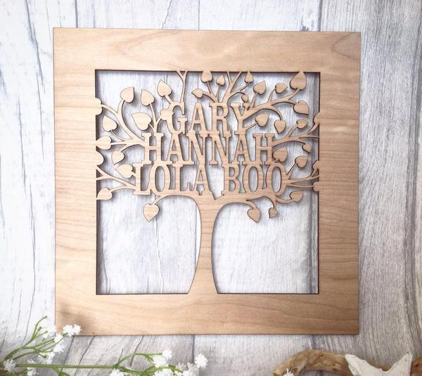 Family tree laser cut personalised plaque