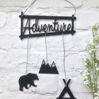 Adventure hanging plaque mobile with bear, teepee and mountain