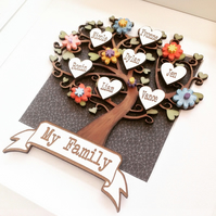 FAMILY TREE - PERSONALISED HANDPAINTED WITH FLORAL EMBELLISHMENTS- FRAMED