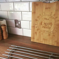 Family monogram Personalised bamboo chopping board