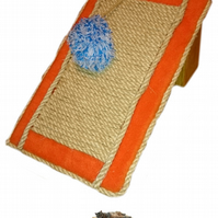 Slanted Cat Scratch Board with Catnip Pom Pom by Playtime4Pets