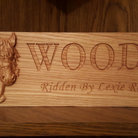Custom OAK Personalised Stable Door Plaque Sign with 3D Carved Horses Head