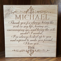 Personalised Step Father of Bride Freestanding Oak Wedding Thank you Sign