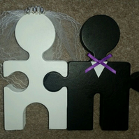 Custom Cake Topper Wooden Bride & Groom Mr And Mrs Jigsaw Pieces Wedding Cake