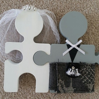 Custom Wooden Scottish Bride & Groom Mr And Mrs Wedding Jigsaw Cake Topper