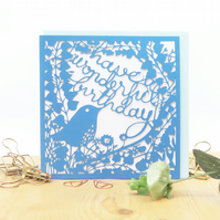 Happy birthday card, Luxury birthday card, Papercut birthday card