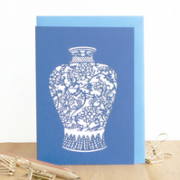 Chinese vase card, Mum birthday card, Granny birthday card, Vase card