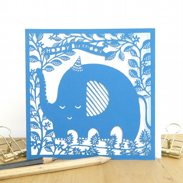 Elephant birthday card, Humorous birthday card, Kid birthday card