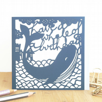 Whale birthday card, Funny birthday card, Humorous birthday card