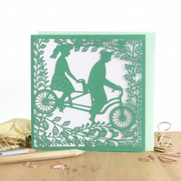 Couple tandem bike card, Dating anniversary card, Wedding anniversary card