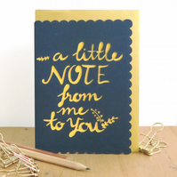 Just a note to say card, A note for you card, Calligraphy note card