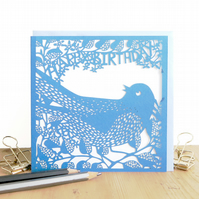 Bird birthday card, Papercut birthday card, Bird lover card