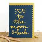 To the moon and back card, Love you lots card, Anniversary card for men