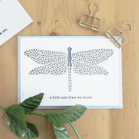 Dragonfly note card. Dragonfly birthday card. Dragonfly card, Hello note card