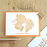 Goldfish birthday card, Cute birthday card, Funny birthday card, Goldfish card