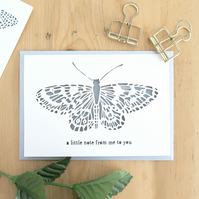 Butterfly card, Butterfly note card, Insect lover card,Entomology lover card