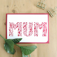 Mother's Day Card, Best mum card, Handmade Mother's Day card, Mum birthday card