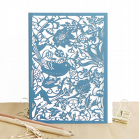 William Morris card, Strawberry thief card, Luxury birthday card, Bird card
