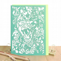 William Morris card, Lily pattern card, Botanical card, Luxury birthday card