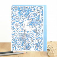 William Morris card, Bird and Anemone card, Birthday card, Floral birthday card