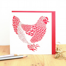 Hen card, Rooster card, Cute birthday card, Bachelorette party card,Chicken card