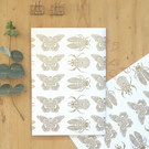 Bee gift wrap, Butterfly gift wrap, Birthday gift wrap, Entomology gift wrap