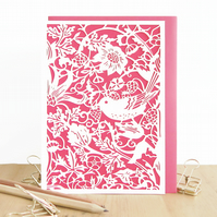 Strawberry thief card, William Morris card,Mum birthday card,Morris pattern card