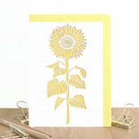 Sunflower card, Sunflower birthday card, Flower lover card, Botanical card