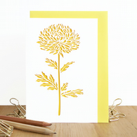 Chrysanthemum card, Mum birthday card, Botanical illustration card, Flower lover