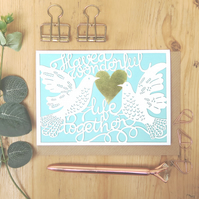 Wedding doves card, Luxury wedding card, Love birds card, Happy ever after card
