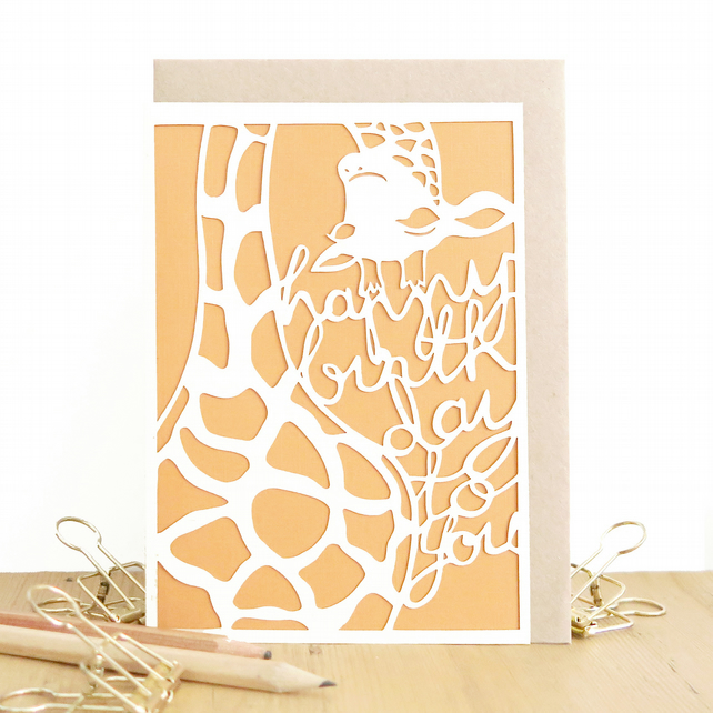Giraffe birthday card, Cute birthday card, Giraffe card, Male birthday card