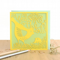 Welcome to the world card, New baby card, Baby girl card, baby boy card