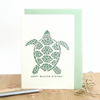 Belated birthday card, Cute turtle card, Late birthday card, Birthday card