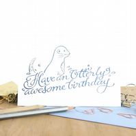 Funny birthday card, Otter birthday card, Cute birthday card, Humorous card