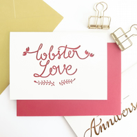 You're my lobster card, Cute anniversary card, Funny anniversary card