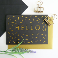 Hello card, Cute card for men, Male birthday card, Hello note card