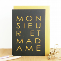 Monsieur et madame card, French wedding card, Engagement card, Wedding card,