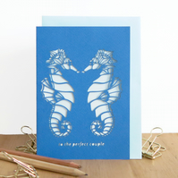 Seahorse pair card, Gay wedding card, Quirky wedding card, Funny wedding card