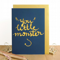 Little monster card, Funny birthday card, Son birthday card, Card for husband