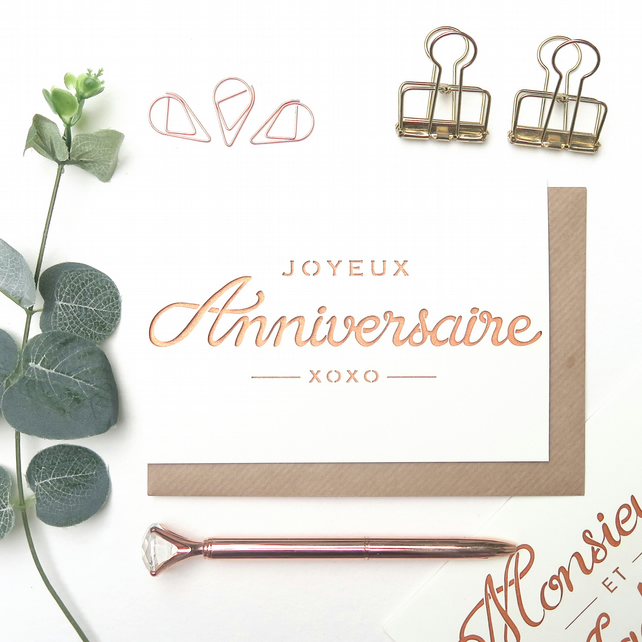 French birthday card, Joyeux anniversaire card, Happy birthday card