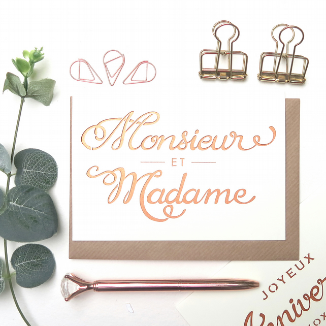 Monsieur et Madame card, French wedding card, Mr Mrs card, Luxury wedding card