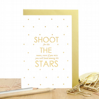 Shoot the stars card, Motivational card, You can do it card, Encouragement card
